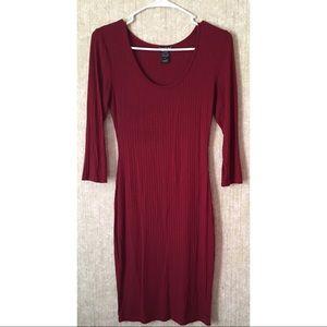 A burgundy with short sleeve dress
